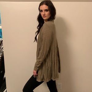 Olive open face cardigan